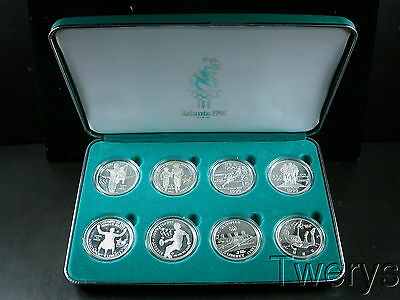 One 8 Piece 1995-1996 Olympics Silver $1 Commem Proof Coins With Box & Coa