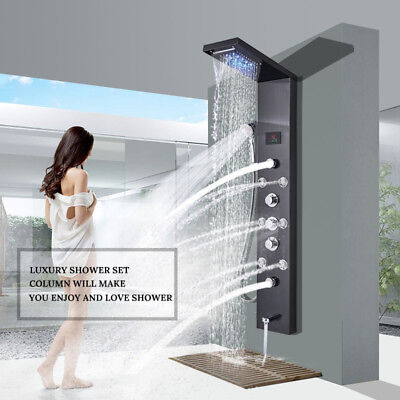Shower Panel Tower LED Rain Waterfall Rain Massage System with Body Jets Tub Tap