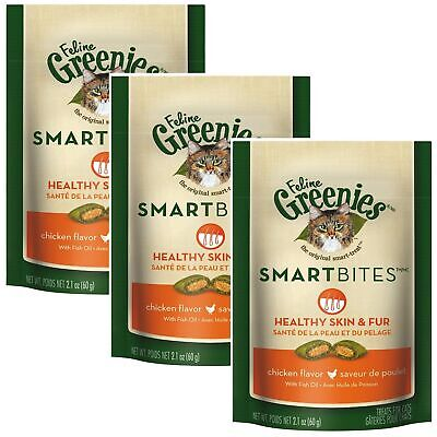 Greenies Feline SMARTBITES HEALTHY SKIN + FUR for Cats 2.1 oz CHICKEN 3 PACK
