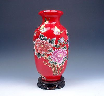 "9"" Red Glazed Porcelain Gold Gilt Flower Butterfly Hand Painted Vase FREE Stand"
