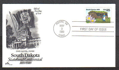 Us Fdc 1989 South Dakota 25C Stamp Art Craft First Day Of Issue Cover Pierre Sd
