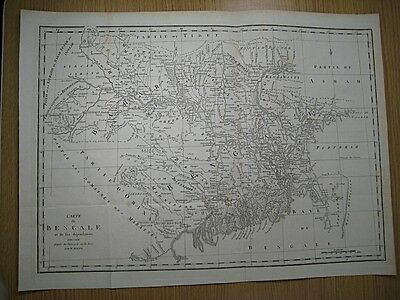 1775 Bolts: Carte du Bengale - Map of Bengal, India