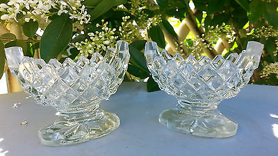 Pair Vintage Diamond Cut Pressed Glass Salt Pots Miniature Bowls