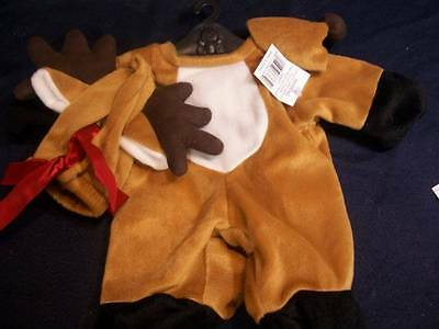 """Bears ~✿~ Reindeer Outfit with Nose & Antler Hat for 16"""" Bear NWT"""