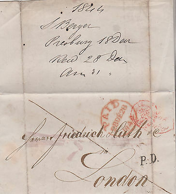 1844 PRESSBURG (BRATISLAVA) PRE-STAMP LETTER MAILED TO FRED HUTH & Co IN LONDON