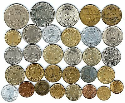31 different world coins from YUGOSLAVIA some scarce
