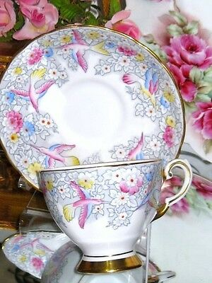 Tuscan Cup and Saucer Hummingbirds & Floral Chintz Hand Painted Teacup C 9671