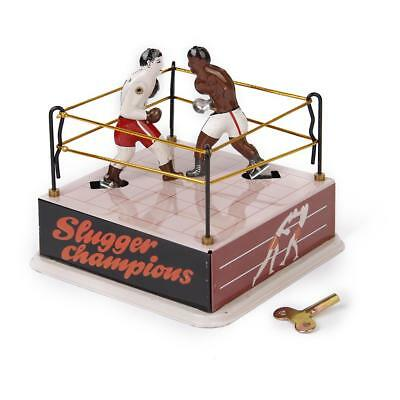 Wind-Up Classic Boxing Ring Boxers Metal Tin Toy Collectible Gift w/ Key