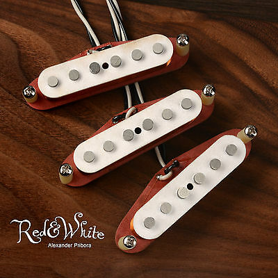 pickup Handcrafted Stratocaster set, Fullertone Style White Top, inferiore rosso