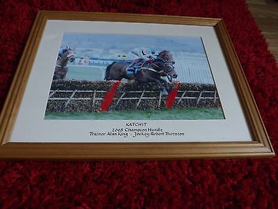 Katchit Alan King Robert Thornton Signed 40cm x 31cm Photo Framed Horse Racing