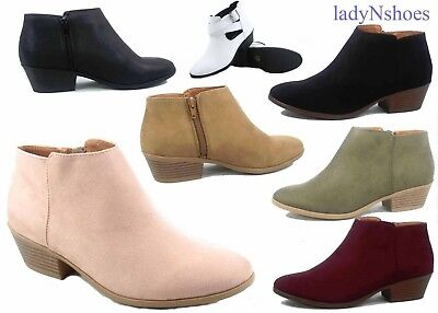 NEW Women's Simple Fashion Low Heel Western Ankle Booties Shoes Size 5.5 - 11