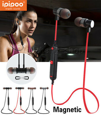Magnet Metal Sports Bluetooth4.2 Earphone Wireless Earbud Stereo Headset W/Mic