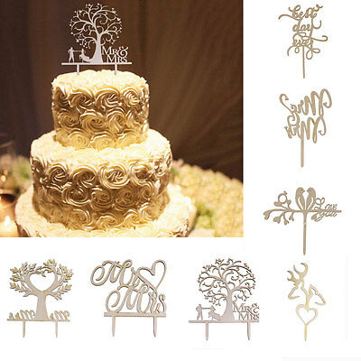 Wooden Mr &Mrs Bride Groom Wedding Love Cake Topper Party Favors Decoration