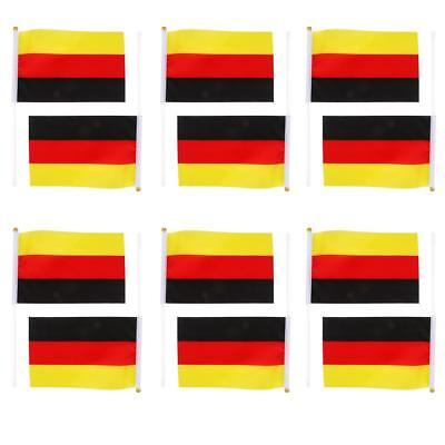 German Hand Waving National Flags with Poles 12Pcs