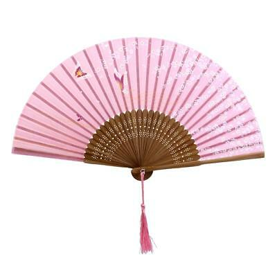Pink Silk Butterfly Sakura Flower Hand Held Fan Japanese Folding Pocket Fan