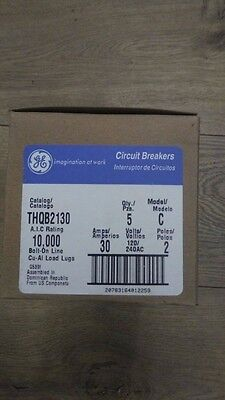 LOT OF (5) GE THQB2130, 30 Amp 2 Pole 240 Volt Circuit Breaker- NEW