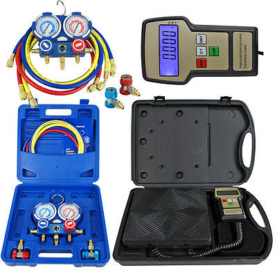 Deluxe R134a R410a R22 Manifold Gauge Set & Electronic Digital Refrigerant Scale
