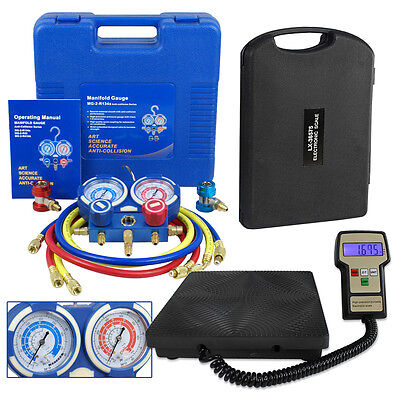 R134a HVAC Manifold Gauge Air Condition A/C and Digital Refrigerant Scale Set