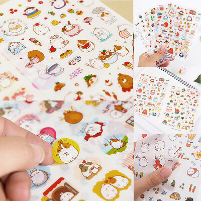 6pcs Cute Rabbit Girl Color Stickers DIY Diary Ablum Scrapbook Photo Craft Set
