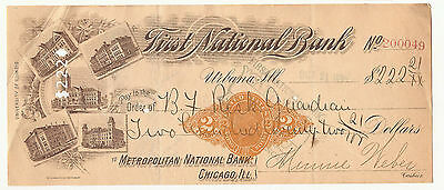 1901 First National Bank Urbana, Illinois check w/ vignettes of the University