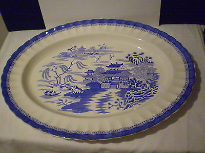 Antique Copeland Willow Pattern Large Serving Plate/platter /dish