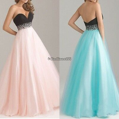 UK Women Bridesmaid Dress Formal Long Prom Ball Gown Wedding Evening Party C5