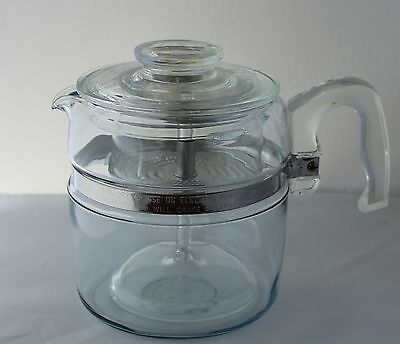 Vintage PYREX GLASS COFFEE POT Stove Top Percolator 4-6 Cup Size
