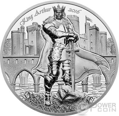 KING ARTHUR Camelot Knights 2 Oz Silver Coin 10$ Cook Islands 2016