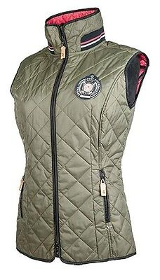 Clearance Sale!! Hkm Lauria Garrelli Polo Classic Olive Ladies Gilet Rrp £61.95