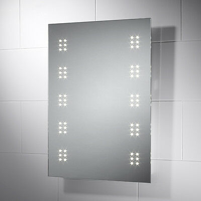 Led Illuminated Bathroom Mirror With Shaver, Sensor & Demister Rega 30.05