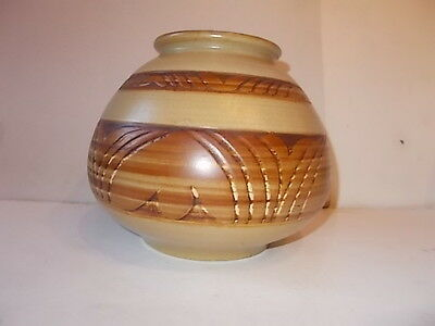 BULLERS STUDIO POTTERY AGNETE HOY LARGE INCISED VASE 20cms across 1940-52