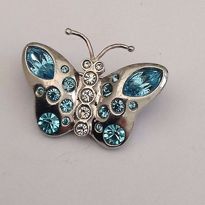 Silver Butterfly Brooch Gorgeous Blue Stones