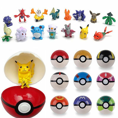 9pc Pokemon Pokeball + 9pc Figure Random Cosplay Pop-up BALL 7cm Cartoon Toy Kid