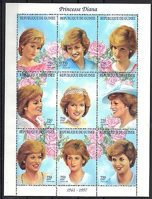 Guinea Mnh 1998 Princess Diana Issue In Sheet Of 9 Plus 2 Souvenir Sheets