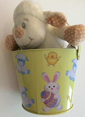 """Cuddly Cow in a Yellow Bucket.  2 Toys in 1.  CE MARK.  9"""" High."""