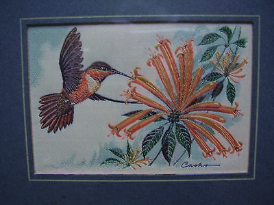 """Cash's Silk Picture """"Rufous Humming Bird"""" Framed and Glazed Size 7.25"""" x 5.75"""""""