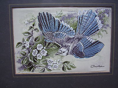 "Cash's Silk Picture ""Blue Jay Bird"" Framed and Glazed Size 7.25"" x 5.75"""