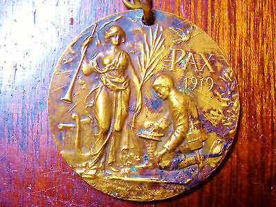 George V & Queen Mary Gilt Bronze Pax Peace Medal 1919.