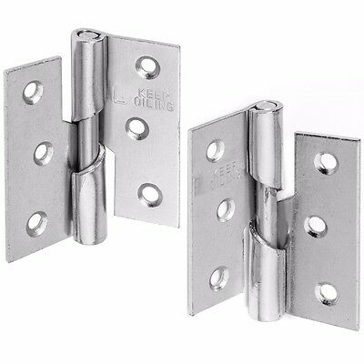 "SILVER RIGHT OR LEFT HAND RISING 75mm/3"" HINGES Steel Butt Lift Off Door Frame"