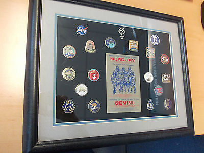 NASA Mercury / Gemini Mission Pins Collection // 19 Mission Logo Pins // Framed