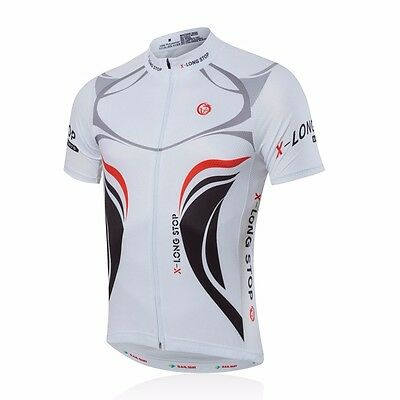 Men Cycling Bike Short Sleeve Jersey Top Bicycle Shirt Clothing Quick Dry White
