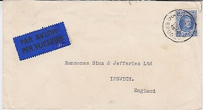 Belgium-1930 1.75 Fr blue on airmail letter Brugge cover to Great Britain