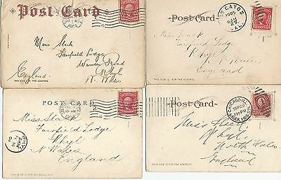USA 8 POSTCARDS 1903-1909 WITH 2c REDS VARIOUS CANCELS MY REF 372