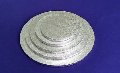 "Cake Drum Cake Boards | Round 12 mm | Silver | Strong Base | 6"" 8"" 10"" 12"" 14"""