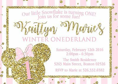 Minnie Mouse Winter Onederland Invitation Custom Pink Gold Glitter Personalized
