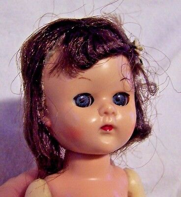 "Vintage Mid 50's VIRGA Ginny/Muffy/Muffie CLONE 8"" nude little doll needing TLC"