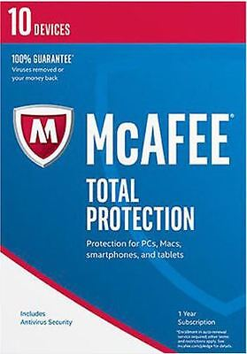 NEW McAfee Total Protection 10 devices 2017 (10  Devices 1 Year) Latest Version