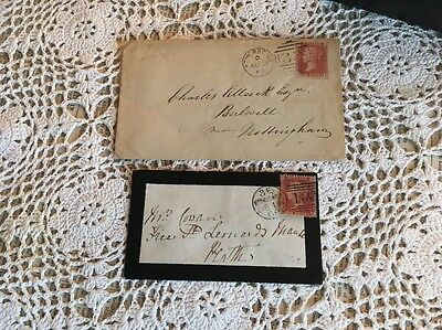 Gb Victoria Penny Red 1868 & 1865 Envelopes And Stamps