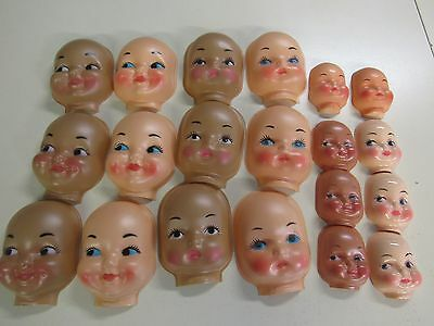 20 Vintage Assorted  Unused  Plastic Doll   Faces Sewing Crafts