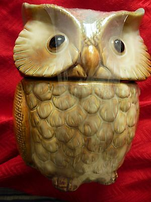 New Owl Canister Cookie Jar Autumn Fall Thanksgiving Ceramic